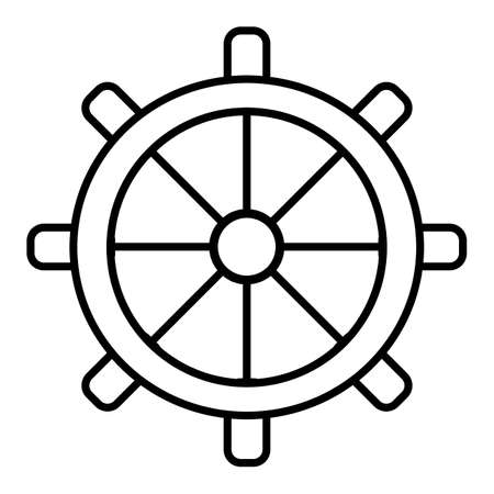 Wheel of ship icon outline wheel of ship vector icon for web design isolated on white background.