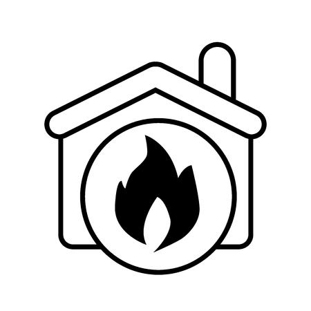 Zeichen, Feuer in der Hauslinie Symbol. Vektorillustration isoliert auf weiß. Design im Umrissstil für Web und App. Eps 10 Vektorgrafik
