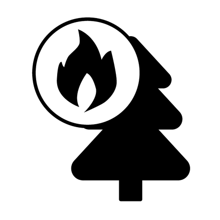Fire in the forest solid icon. vector illustration isolated on white. glyph style design, designed for web and app. Eps 10 Illustration