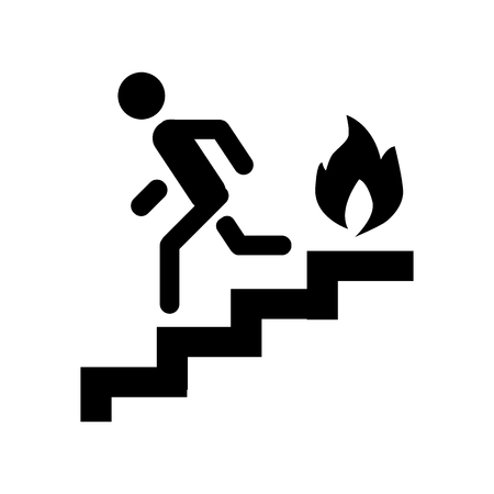 Fire escape, ladder, man, fire solid icon. vector illustration isolated on white. glyph style design, designed for web and app. Eps 10