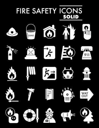 Fire safety glyph icon set, emergency symbols collection, vector sketches, logo illustrations, alarm signs solid pictograms package isolated on black background, eps 10.