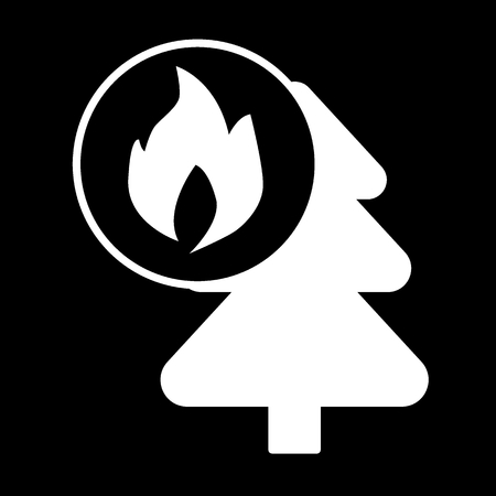 Fire in the forest solid icon. vector illustration isolated on black. glyph style design, designed for web and app. Eps 10