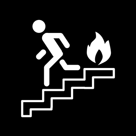 Fire escape, ladder, man, fire line icon. vector illustration isolated on black. outline style design, designed for web and app. Eps 10 Illustration