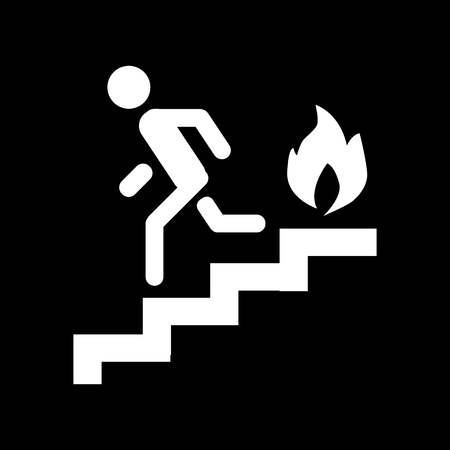 Fire escape, ladder, man, fire solid icon. vector illustration isolated on black. glyph style design, designed for web and app. Eps 10