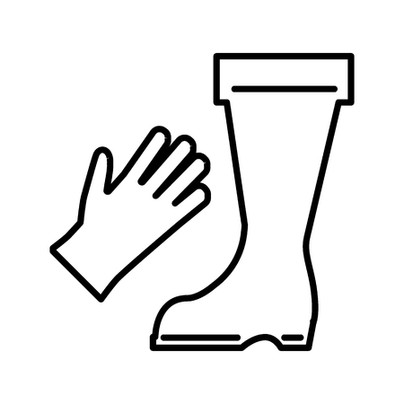 Garden boots and gloves line icon. vector illustration isolated on white. outline style design, designed for web and app. Eps 10
