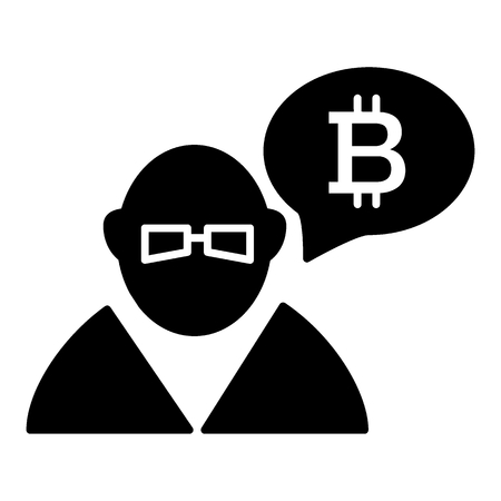 Trader, exchange, bitcoin solid icon. vector illustration isolated on white. glyph style design, designed for web and app. Eps 10 Ilustração
