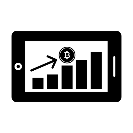 Bitcoin financial growth graph. Financial growth on bitcoin. Vector bitcoin growth graph on white background. Bitcoin currency rising arrow price record highs.