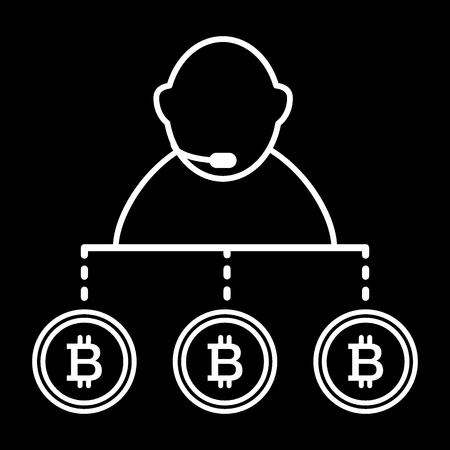 Broker, exchange, bitcoin line icon. vector illustration isolated on black. outline style design, designed for web and app. Eps 10 Illustration