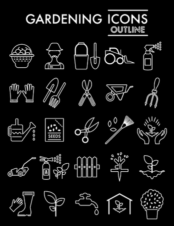 Gardening line icon set, farm symbols collection, vector sketches, icon illustrations, horticulture signs linear pictograms package isolated on black background. Stock Illustratie