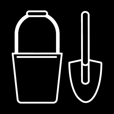 Bucket and spade line icon. vector illustration isolated on black. outline style design, designed for web and app. Stock Illustratie