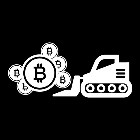 Bitcoin mining, excavator solid icon. vector illustration isolated on black. glyph style design, designed for web.