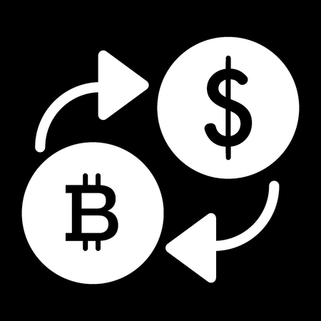 Bitcoin to dollar exchange solid icon. vector illustration isolated on black. glyph style design, designed for web and app