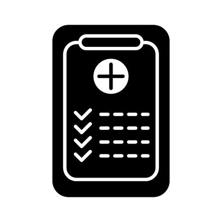 Medical clipboard solid icon. vector illustration isolated on black. glyph style design, designed for web and app Vektoros illusztráció