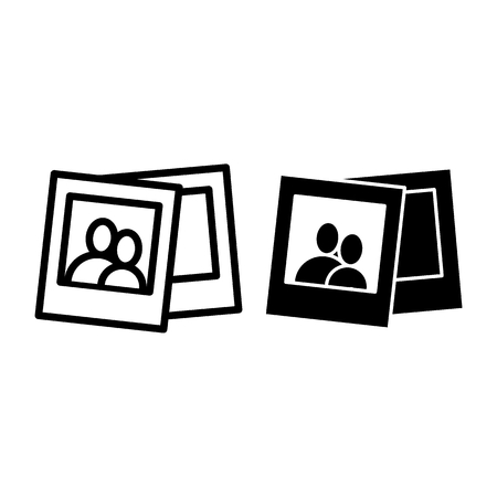 Portrait photos line ang glyph icon. Photograph vector illustration isolated on white. Photos outline style design, designed for web and app. Eps 10