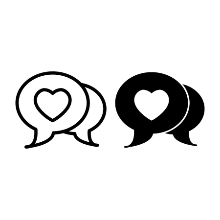 Love message line and glyph icon. Love chat vector illustration isolated on white. Text outline style design, designed for web and app.