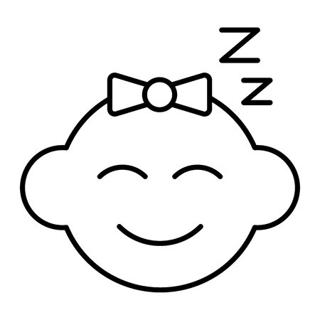 Baby sleeping thin line icon. Baby face vector illustration isolated on white. Sleeping kid outline style design, designed for web and app.