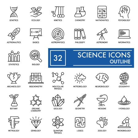 Science vector icons set. Education and Knowledge Icons isolated on white. Flat thin outline design. eps 10.