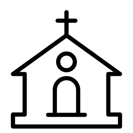 Catholic church line icon. Building vector illustration isolated on white. Church outline style design, designed for web and app  イラスト・ベクター素材