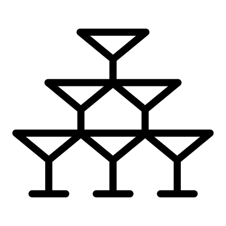 Pyramid of glasses line icon. Champagne glasses vector illustration isolated on white. Crystal outline style design, designed for web and app. Eps 10