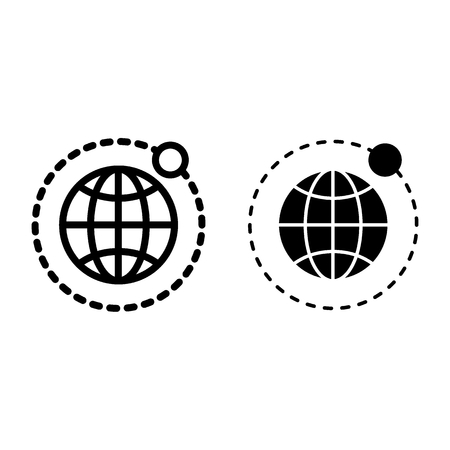 Earth and moon line and glyph icon. Globe vector illustration isolated on white. Planet outline style design, designed for web and app.