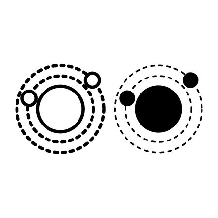 Solar system line and glyph icon. Orbit vector illustration isolated on white. Galaxy outline style design, designed for web and app.