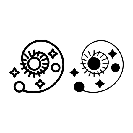 Solar system line and glyph icon. Astronomy vector illustration isolated on white. Spiral with sun, stars and planets outline style design, designed for web and app.