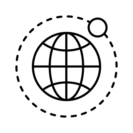 Earth and moon thin line icon. Globe vector illustration isolated on white. Planet outline style design, designed for web and app. Illustration