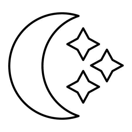 Crescent and stars thin line icon. Moon vector illustration isolated on white. Crescent outline style design, designed for web and app.