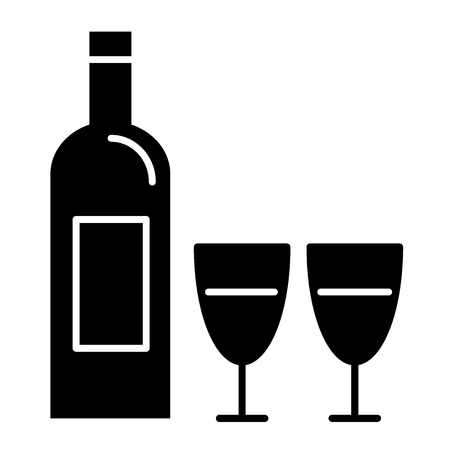 Bottle of wine and two glasses solid icon. Wine bottle vector illustration isolated on white. Glass glyph style design, designed for web and app.