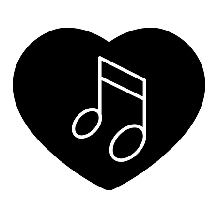 Heard and note solid icon. Love song vector illustration isolated on white. Musical note glyph style design, designed for web and app.