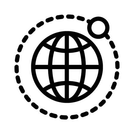Earth and moon line icon. Globe vector illustration isolated on white. Planet outline style design, designed for web and app.