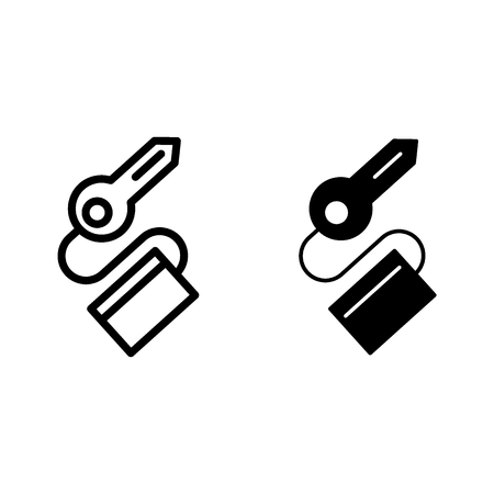 Key line and glyph icon. Passkey vector illustration isolated on white. Keychain with key outline style design, designed for web and app. Stok Fotoğraf