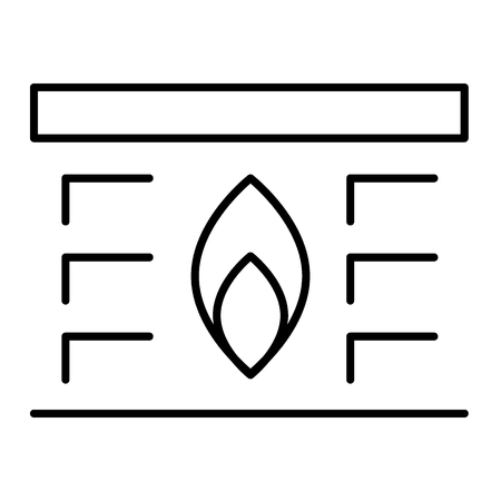 House heating thin line icon. Fireplace vector illustration isolated on white. Flame outline style design, designed for web and app. Eps 10