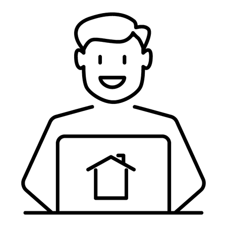Realtor thin line icon. Man broker vector illustration isolated on white. Real estate agent outline style design, designed for web and app