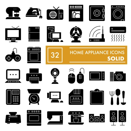 Home Appliance Glyph Icon Set, Household Symbols Collection ... on basic electronic symbols, kitchen symbols, lighting symbols, residential electric symbols, residential drafting symbols, circuit symbols, heating and cooling symbols, carpentry symbols, electronic component symbols, household appliances, printable wiring diagram symbols, industrial wiring symbols, voice and data symbols, clothing symbols, tools symbols, bathroom symbols, residential wiring symbols, automotive symbols, wallpaper symbols, electronic schematic symbols,