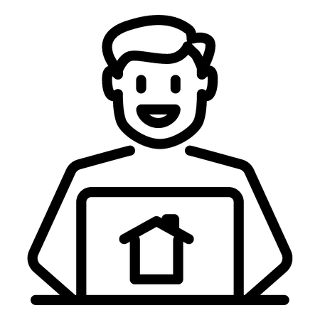 Realtor line icon. Man broker vector illustration isolated on white. Real estate agent outline style design, designed for web and app. Eps 10.