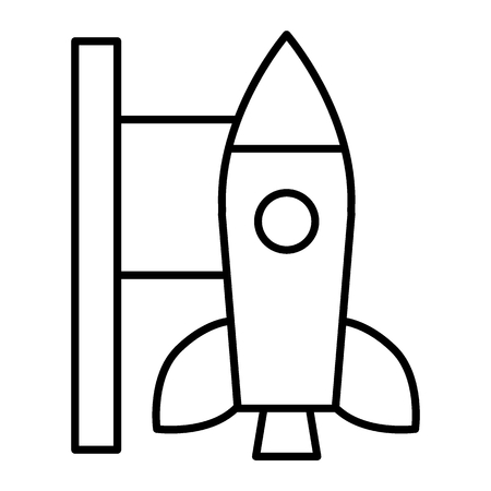 Rocket launch thin line icon. Missile vector illustration isolated on white. Spaceship outline style design, designed for web and app. Eps 10