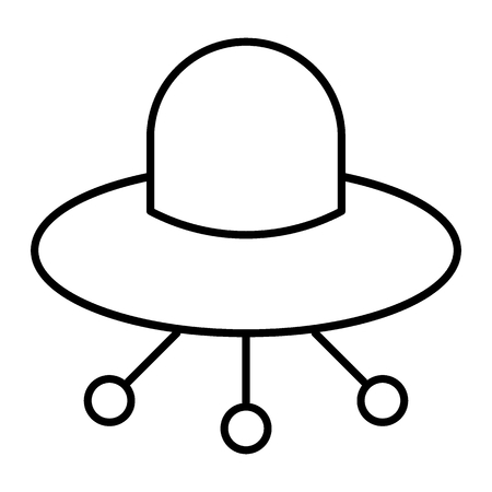 UFO thin line icon. Alien spaceship vector illustration isolated on white. Flying ufo saucer outline style design, designed for web and app. Eps 10