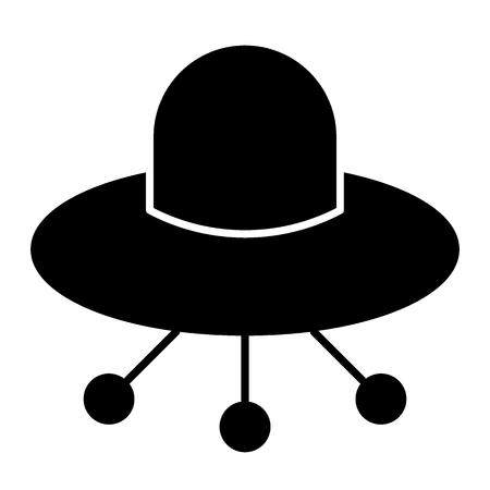 UFO solid icon. Alien spaceship vector illustration isolated on white. Flying ufo saucer glyph style design, designed for web and app. Eps 10 Vectores