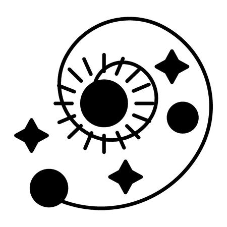 Icono sólido del sistema solar. Ilustración de vector de astronomía aislado en blanco. Espiral con diseño de estilo de glifo de sol, estrellas y planetas, diseñado para web y aplicaciones. Eps 10. Ilustración de vector
