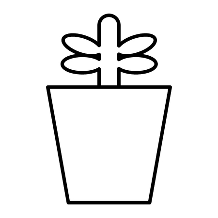 Plant in pot thin line icon. Sprout vector illustration isolated on white. Growing plant outline style design, designed for web and app. Eps 10. Ilustração