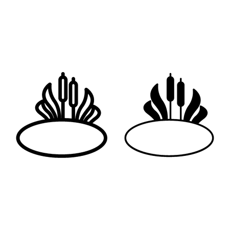 Reeds in bog line and glyph icon. Bulrush in the lake vector illustration isolated on white. Swamp cattail outline style design, designed for web and app. Eps 10. Иллюстрация