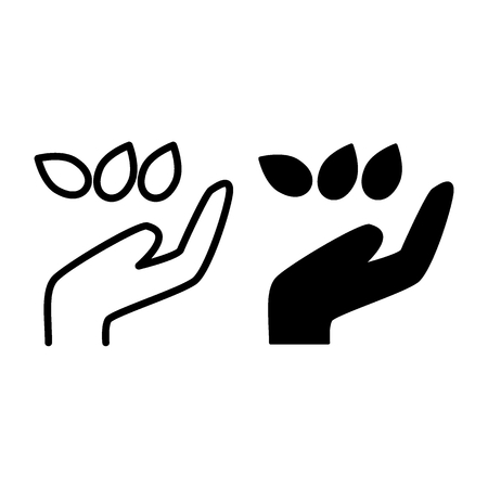 Hand with seeds line and glyph icon. Grains with hand vector illustration isolated on white. Sowing of seeds outline style design, designed for web and app. Eps 10