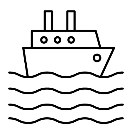 Ship liner thin line icon. Cruise ship vector illustration isolated on white. Ocean ship outline style design, designed for web and app. Eps 10.