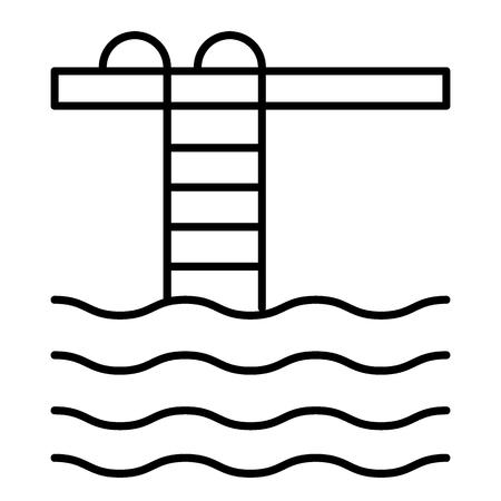 Pool dünne Linie Symbol. Poolleiter Vektorillustration lokalisiert auf Weiß. Entwurf des Swimmingpools, entworfen für Web und App. Eps 10.
