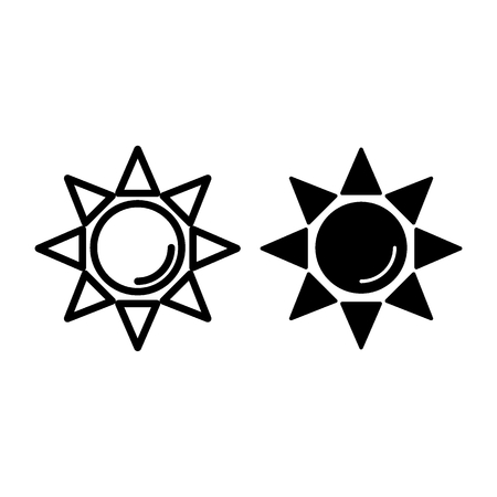 Sun line and glyph icon. Shining sun vector illustration isolated on white. Sunbeams outline style design, designed for web and app. Eps 10.