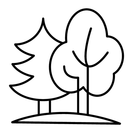 Forest thin line icon. Nature vector illustration isolated on white. Trees outline style design, designed for web and app. Eps 10 Vektorové ilustrace