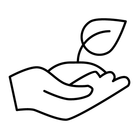 Greening thin line icon. Sprout in hand vector illustration isolated on white. Plant in palm outline style design, designed for web and app. Eps 10. 向量圖像