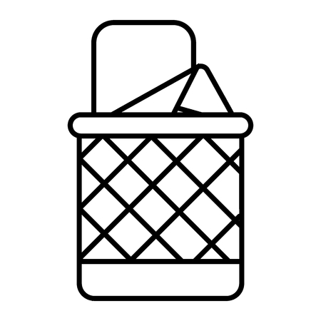 Full trash can thin line icon. Bin vector illustration isolated on white. Basket outline style design, designed for web and app. Eps 10 Vettoriali