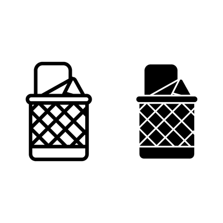 Full trash can line and glyph icon. Bin vector illustration isolated on white. Basket outline style design, designed for web and app. Eps 10 Vettoriali